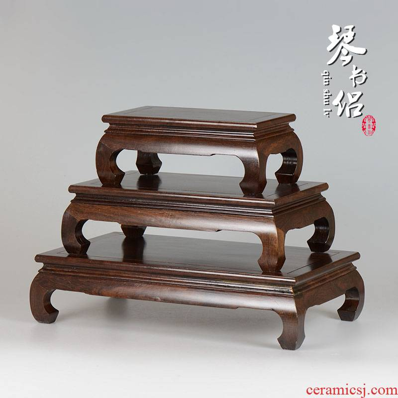 Solid wood ebony miniascape of carve patterns or designs on woodwork base rectangle tank base square wooden handicraft furnishing articles base