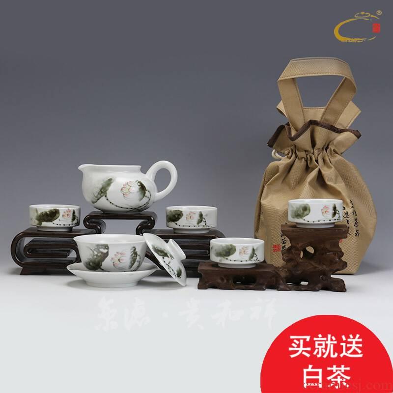 Jing DE and auspicious tea ware jingdezhen tureen hand - made ceramic kung fu tea set gift set ink lotus group