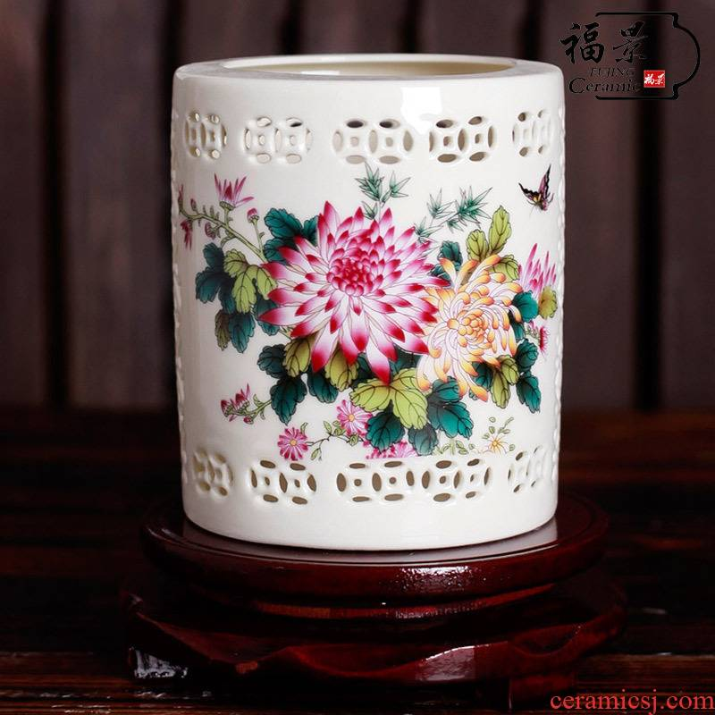 Chinese ancient frame furnishing articles creative household ceramics handicraft brush pot office business gifts to send the the teacher elder