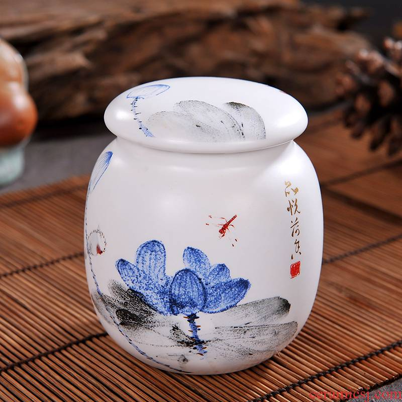 Caddy fixings jingdezhen ceramics with cover seal pot small storage POTS portable storage tea pot tea Caddy fixings and POTS