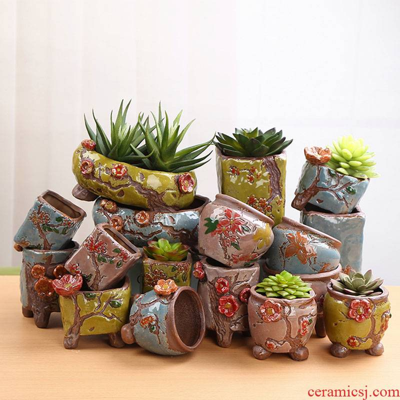 Fleshy ceramic flower POTS and colorful pinch flower more than individuality creative flower pot meat platter coarse TaoSu burn breathable small old basin