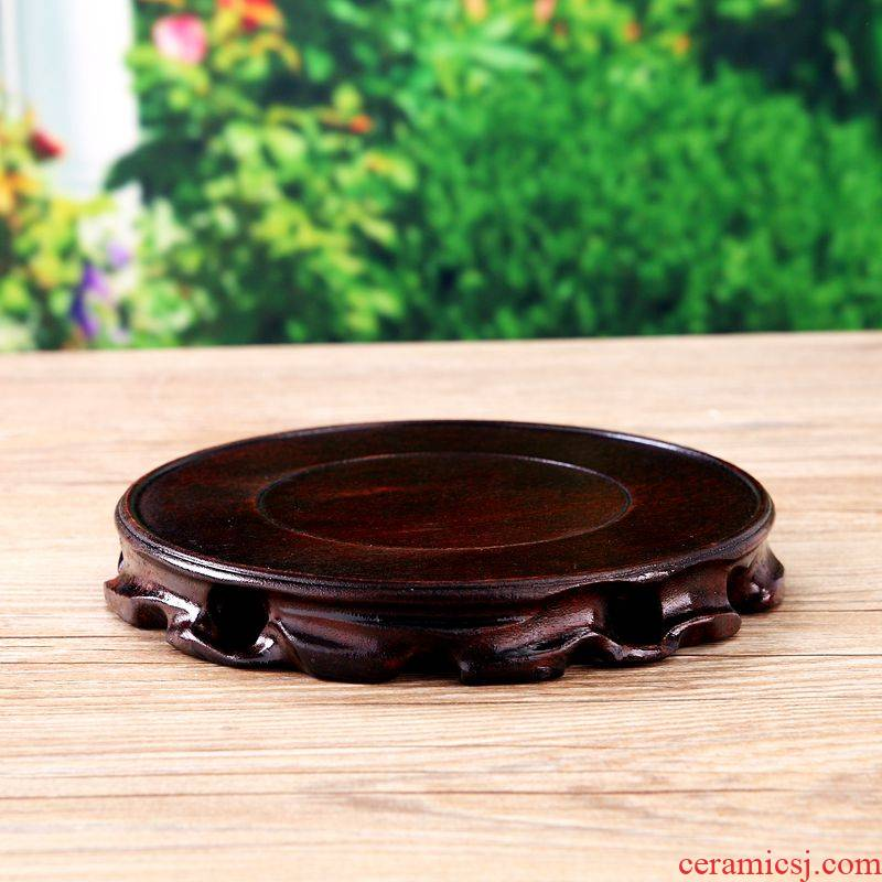 Solid wood base root carving wood base flowerpot tank base rounded base carved jade stone base
