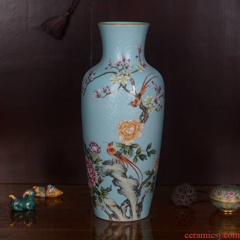 Jingdezhen ceramics high - grade hand - made archaize qianlong blue tail vase household adornment process sitting room furnishing articles