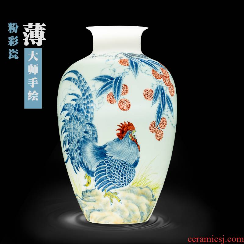 Jingdezhen ceramics hand - made pastel prosperous thin body new Chinese style household vase sitting room adornment is placed