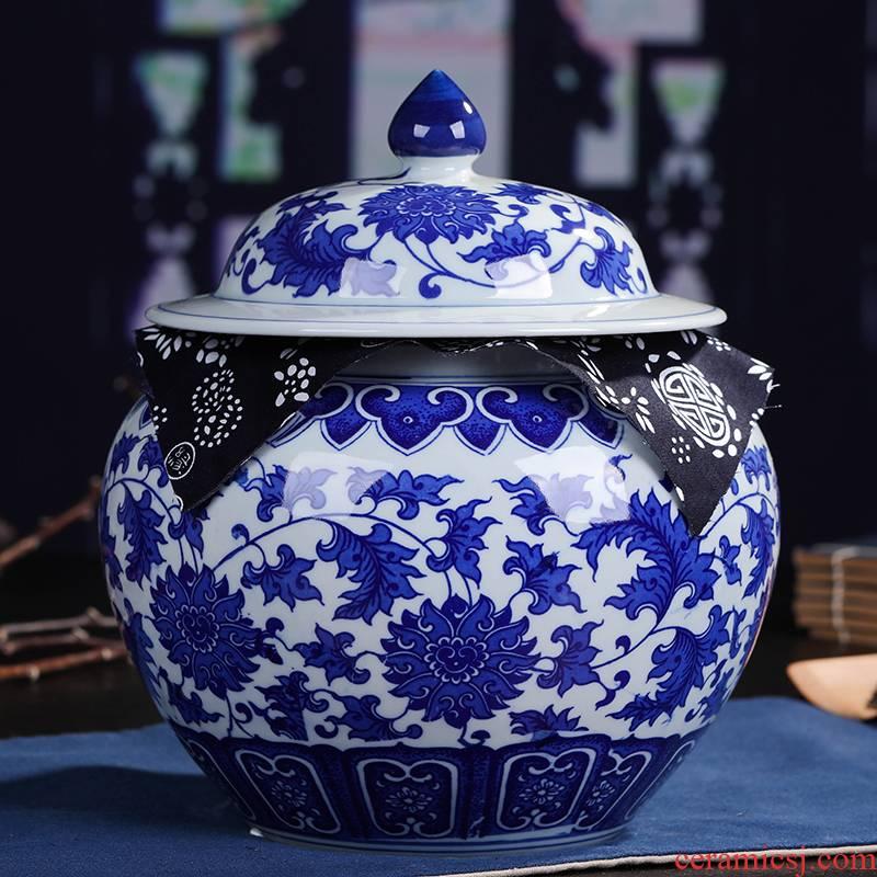 Jingdezhen ceramic moistureproof tea canister receives retro puer tea pot seal large creative tea set