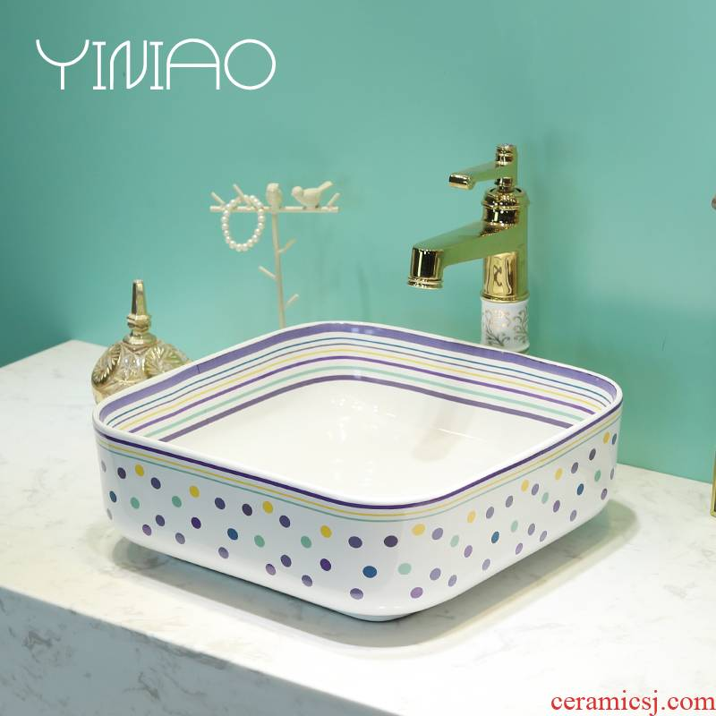 Fashion contracted on the jingdezhen ceramic lavatory basin square face lavabo household toilet of the pool that wash a face