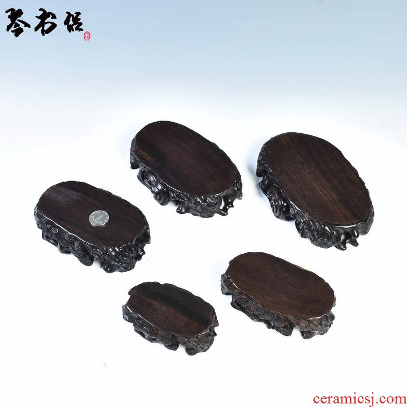 Ebony woodcarvings stone base solid wood oval jade stone base mount taishan stone base flower miniascape of base frame