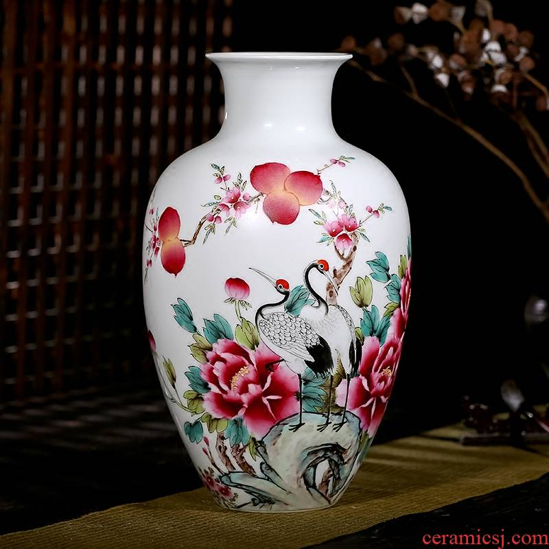 Jingdezhen ceramic hand - made vases, pure manual famous masterpiece wealth longevity flowers sitting room of Chinese style furnishing articles