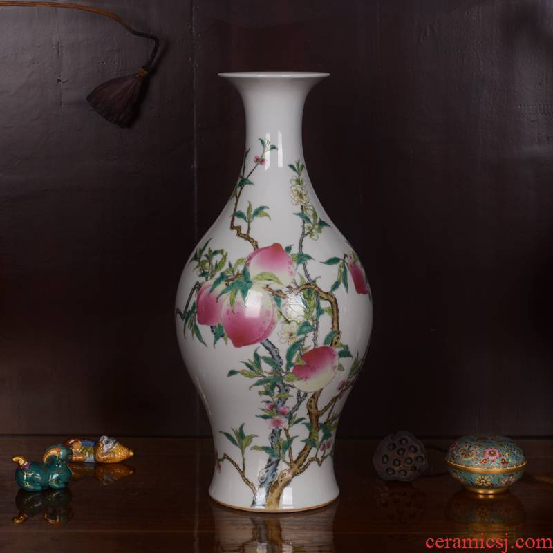 Jingdezhen ceramics high - grade hand - made archaize qianlong peach olive vase household adornment process sitting room furnishing articles