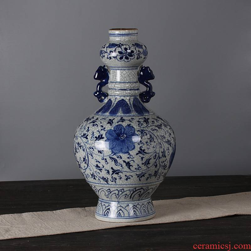 Jingdezhen ceramics antique piece of archaize ears crackle vase bottle home act the role ofing is tasted furnishing articles in the living room