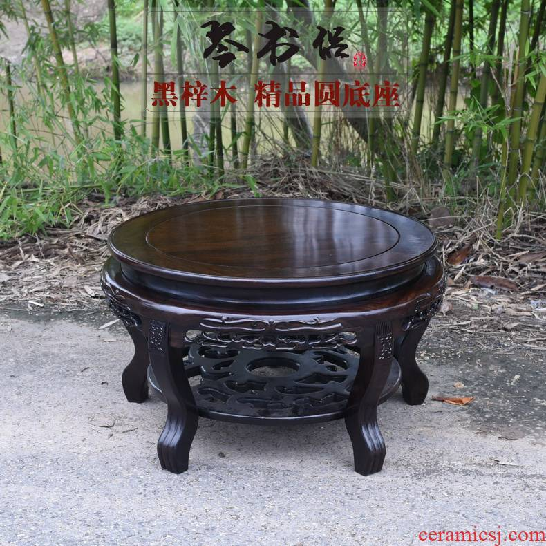 Ebony woodcarvings tank base vase base bonsai circular base of real wood of Buddha stone base furnishing articles