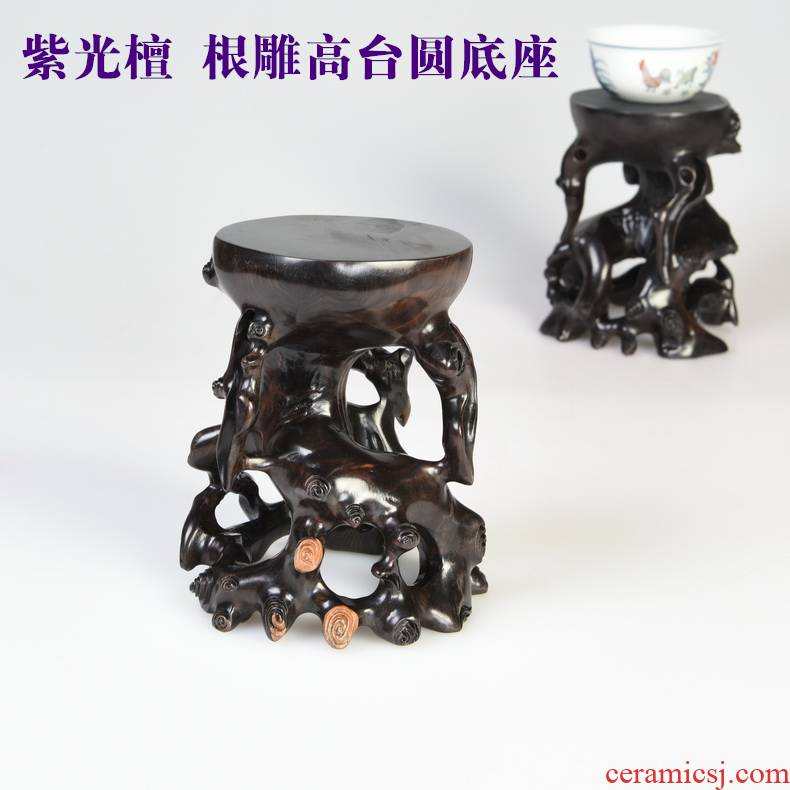 Pianology picking purple light ebony carved round base along with the form of a stone base solid wood penjing jade stone base