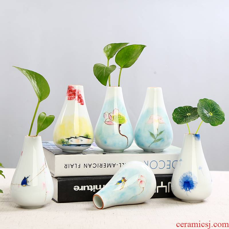 All over the sky star vase furnishing articles sitting room white porcelain little pure and fresh and dry grass flower water keeps cooper vases, ceramic flower implement modern