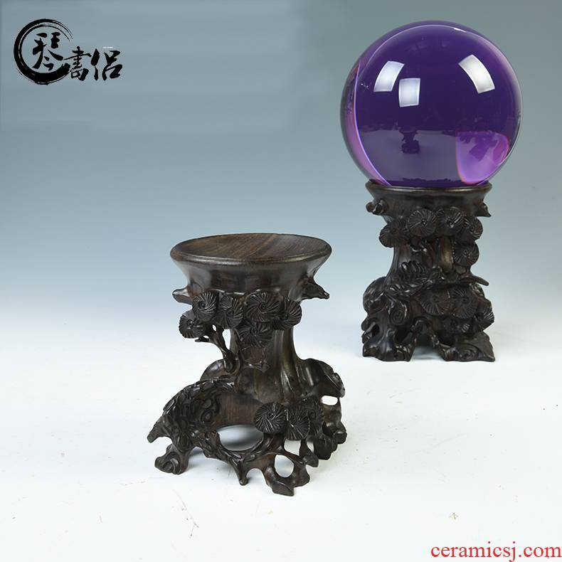 Pianology picking ebony wood furnishing articles spherical crystal ball base base gourd base egg decorating base wooden pallet