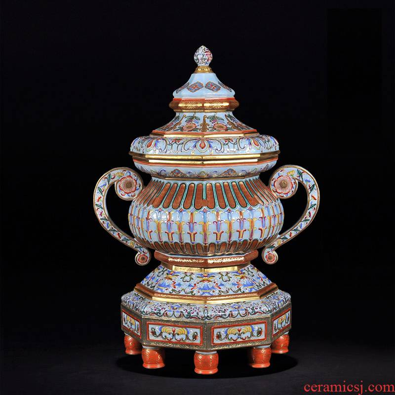 Jingdezhen ceramic antique hand - made gold pick flowers ears with cover pot cup TV ark, furnishing articles sitting room new house act the role ofing is tasted