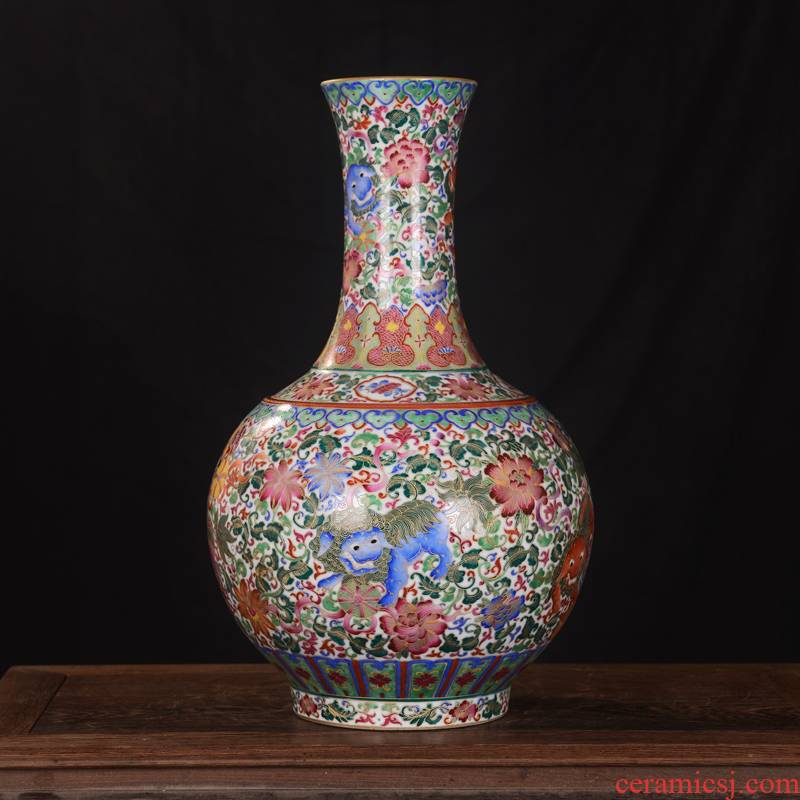 Jingdezhen ceramics high - end antique gold kirin qianlong vase household adornment design process sitting room furnishing articles
