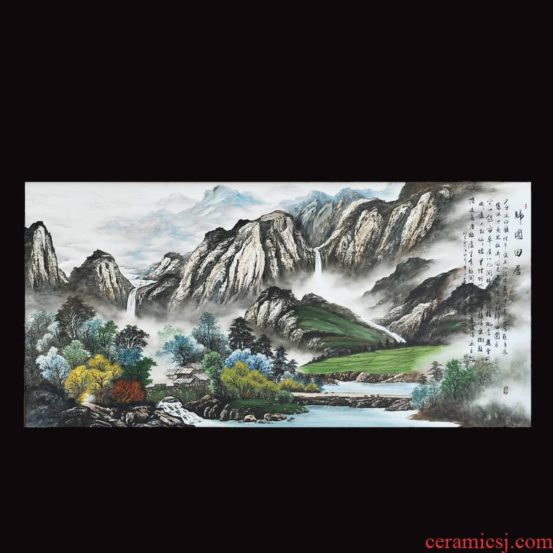 The Master of jingdezhen ceramics Dong Lin sea hand - made pastel yellow and field in China printmaking sitting room adornment picture hangs a picture