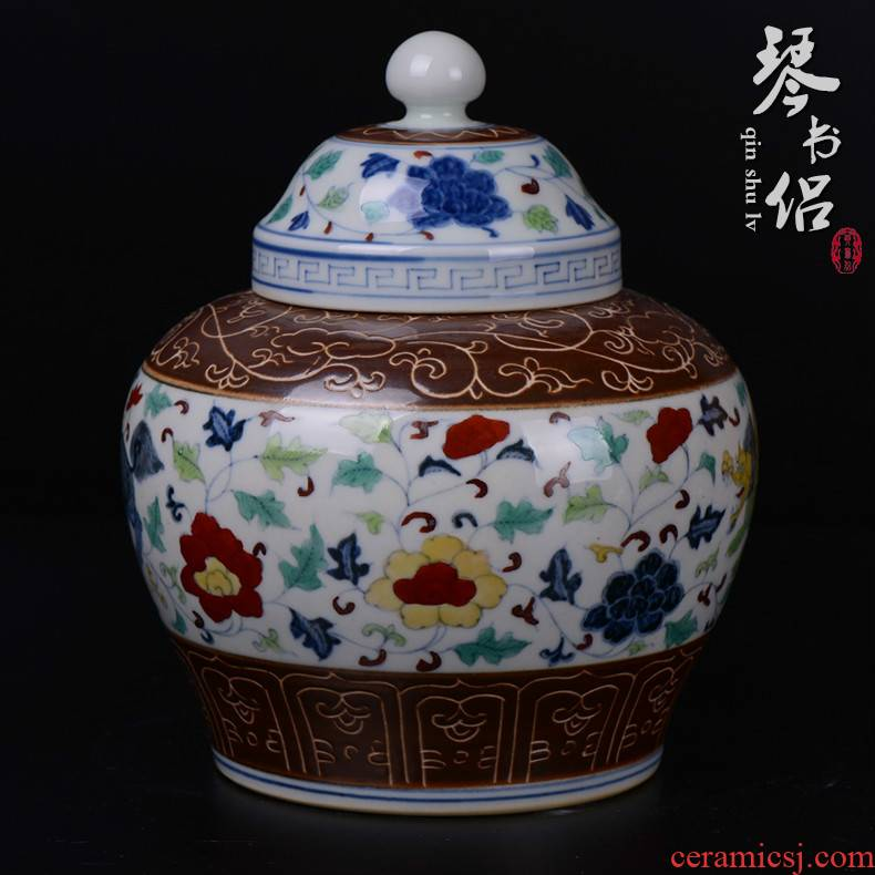 Pianology picking jingdezhen hand - made antique porcelain furnishing articles chenghua bucket color word benevolent day tea pot