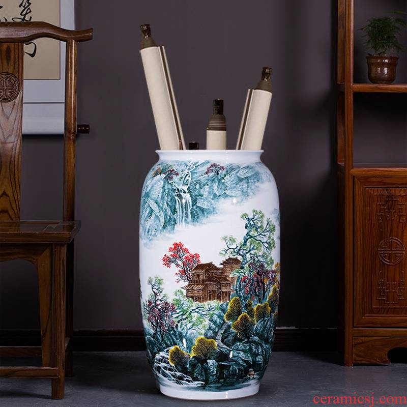Famous master of jingdezhen ceramics hand - made landscape painting the sitting room of large vase furnishing articles calligraphy and painting scroll cylinder