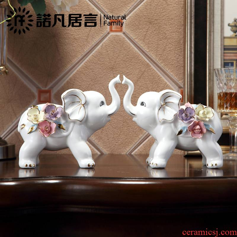 Jingdezhen ceramic furnishing articles sitting room decoration study European opening ornament gift lucky lucky feng shui and elephants