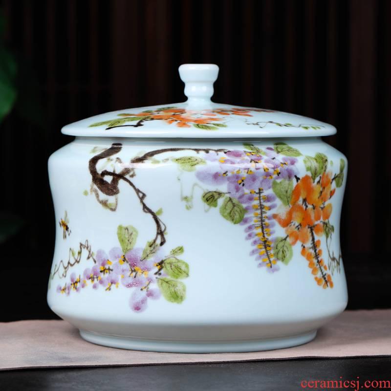 Jingdezhen ceramic tea pot wake receives pu 'er tea cake tin box household seal pot