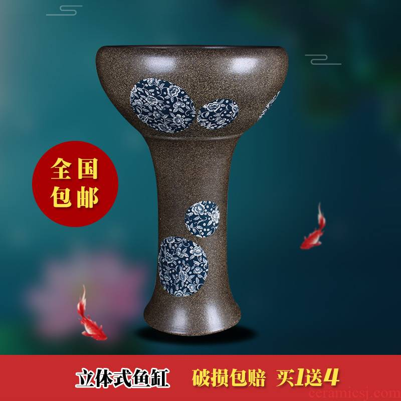 Jingdezhen ceramic floor pillar type tank oversized goldfish bowl LianHe flowerpot brocade carp is suing water lily bowl