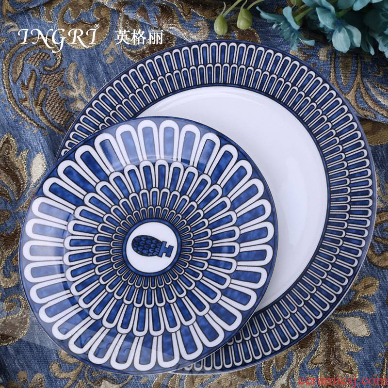 Ipads porcelain tableware son dish plate round household dinner plate ceramic hotel continental breakfast plate cake plate