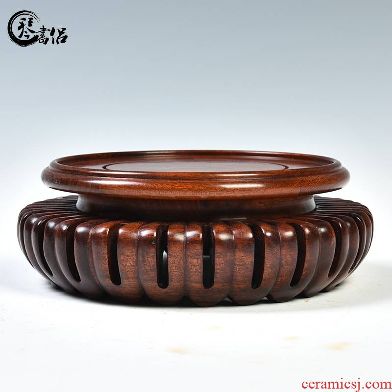 Antique round solid wood Antique vase base base flowerpot furnishing articles base wooden shelves are it base