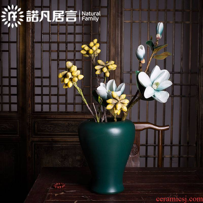 Mesa ceramic American European modern blue vase dried flower flower implement creative furnishing articles Mediterranean living room decoration