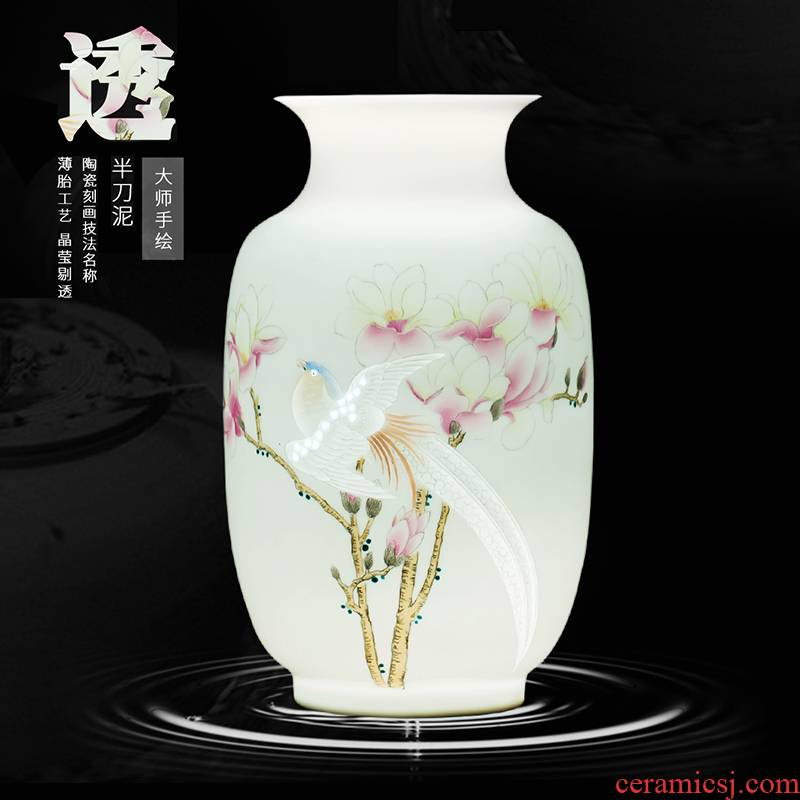 Jingdezhen ceramic masters hand by hand carved powder enamel vase flower arranging CV 18 spring sitting room adornment is placed