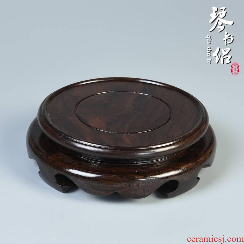 Black catalpa wood real wood flowerpot ebony round vase bonsai aquarium carved wooden furnishing articles stone base