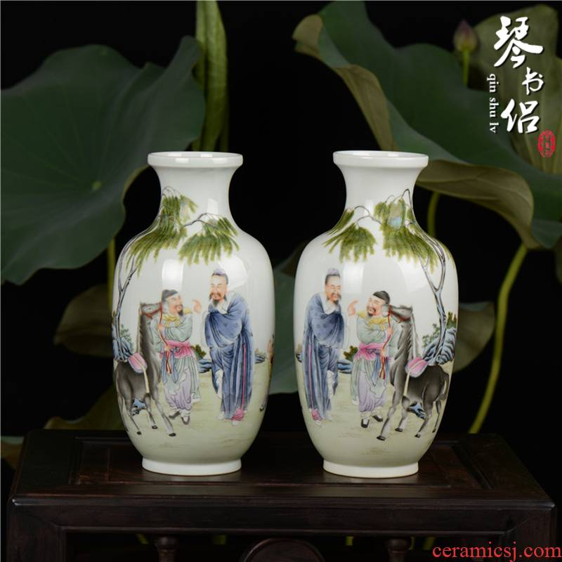 Pianology picking jingdezhen porcelain vases, antique art furnishing articles qianlong pastel bole know horse the lantern of picking a