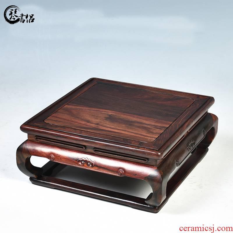 Pianology picking mahogany base rectangle miniascape of solid wood base square vase jade penjing base