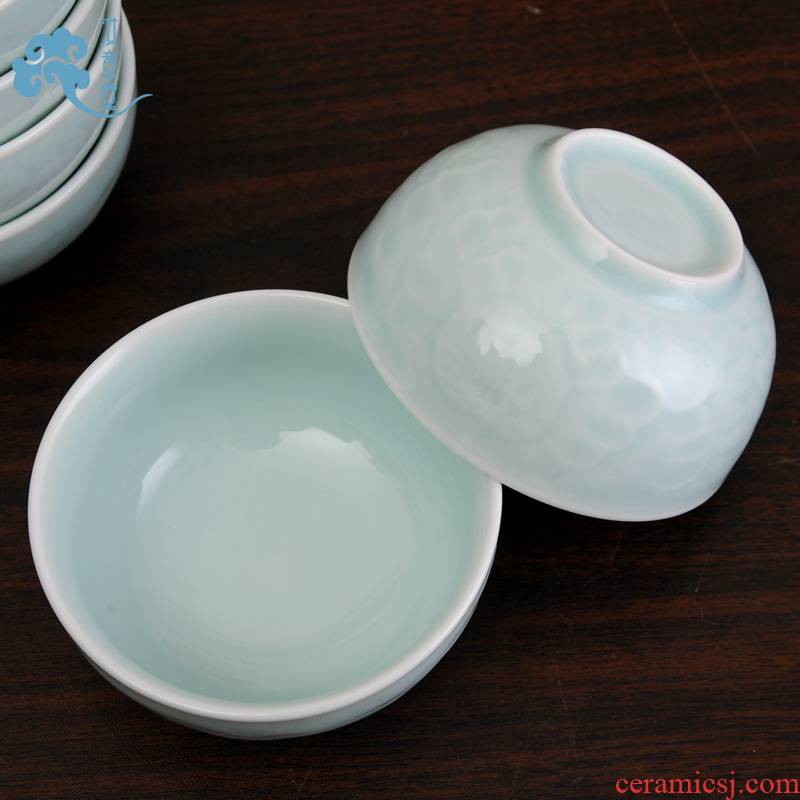 Your up celadon bowls pure color contracted ceramic bowl Chinese tableware rainbow such as bowl bowls and pure and fresh household classic hotel