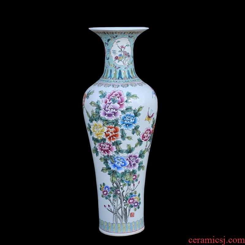 Jingdezhen ceramic of large vases, antique hand - made famille rose blooming flowers, goddess of mercy bottle of large vase
