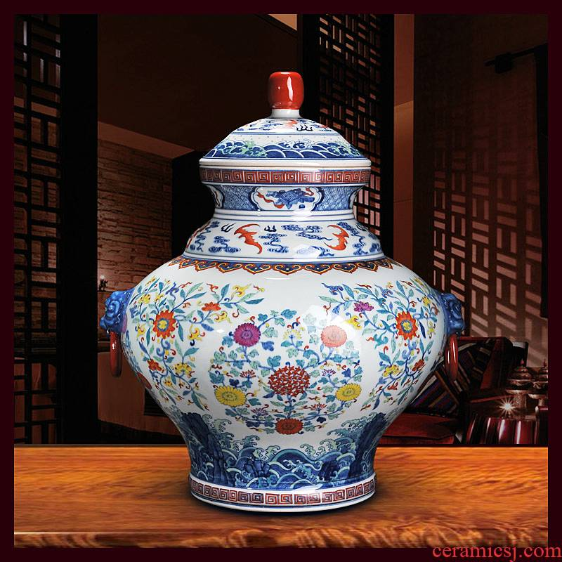 Antique hand - made porcelain of jingdezhen ceramics general bucket color binaural pot cover household crafts are sitting room