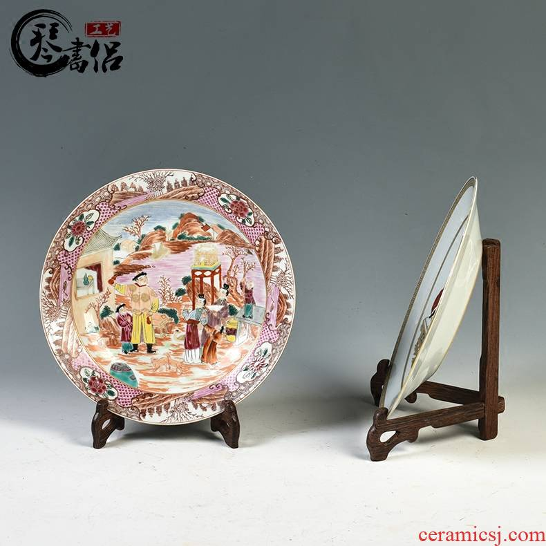 Pianology picking jingdezhen manual hand - made antique ceramics home decoration decoration plate characters wide color plate furnishing articles