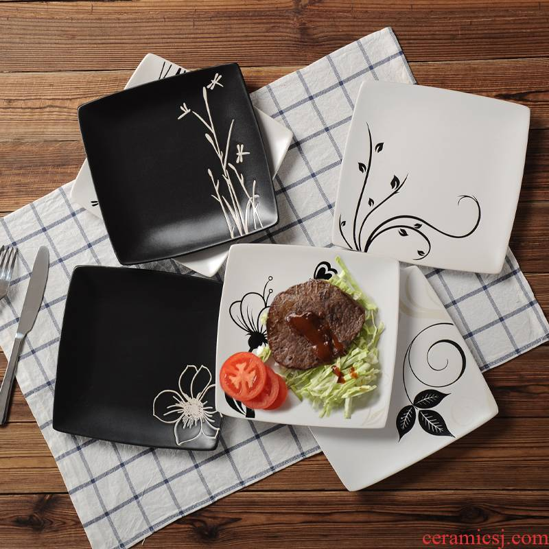 European creative hand - made plate character beefsteak plate household ceramic plate dish dish dish square plate for breakfast