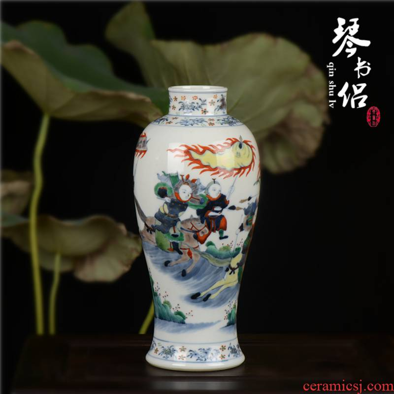 Pianology picking jingdezhen manual hand - made antique blue and white porcelain vase colorful knife horse goddess of mercy bottle decoration bottles