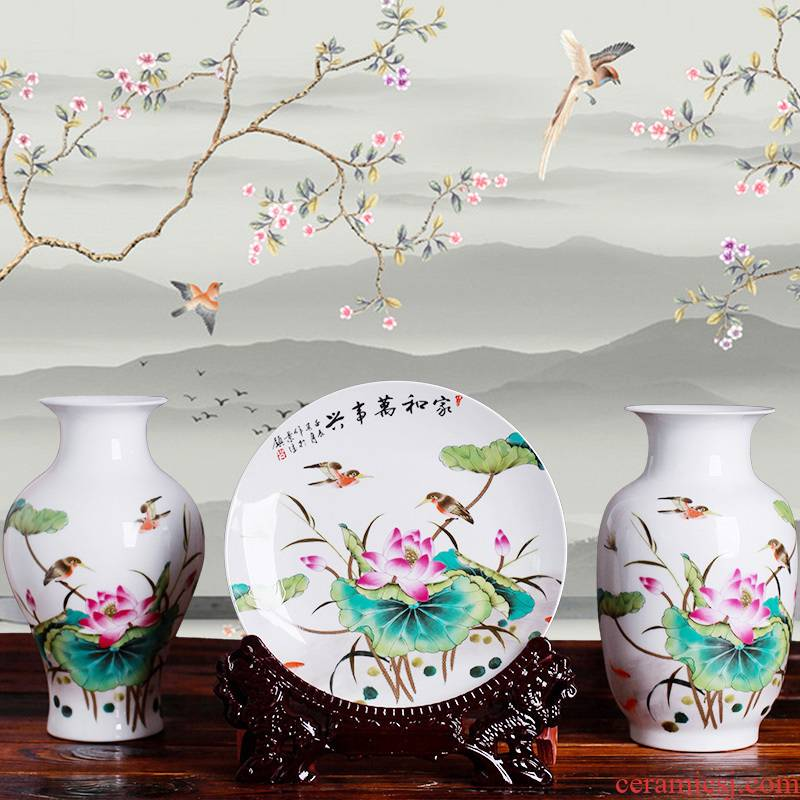 Jingdezhen ceramics three - piece floret bottle of modern Chinese style household living room TV ark, flower adornment furnishing articles