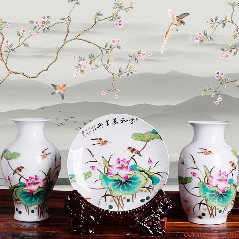 Jingdezhen ceramics three - piece floret bottle of modern Chinese style household living room TV ark, flower adornment furnishing articles