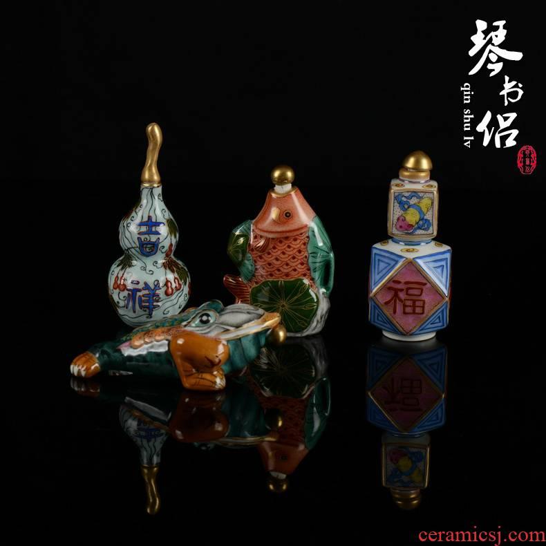 Pianology picking archaize of jingdezhen porcelain qianlong pastel snuff bottle handle a collectables - autograph art furnishing articles