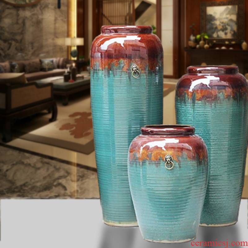 Large vase color glaze up dried flower arranging flowers I and contracted Europe type villa hotel furnishing articles sitting room