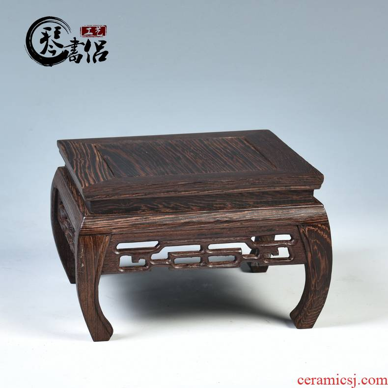 Pianology picking mahogany base square vase base solid wood aquarium base wooden base are it