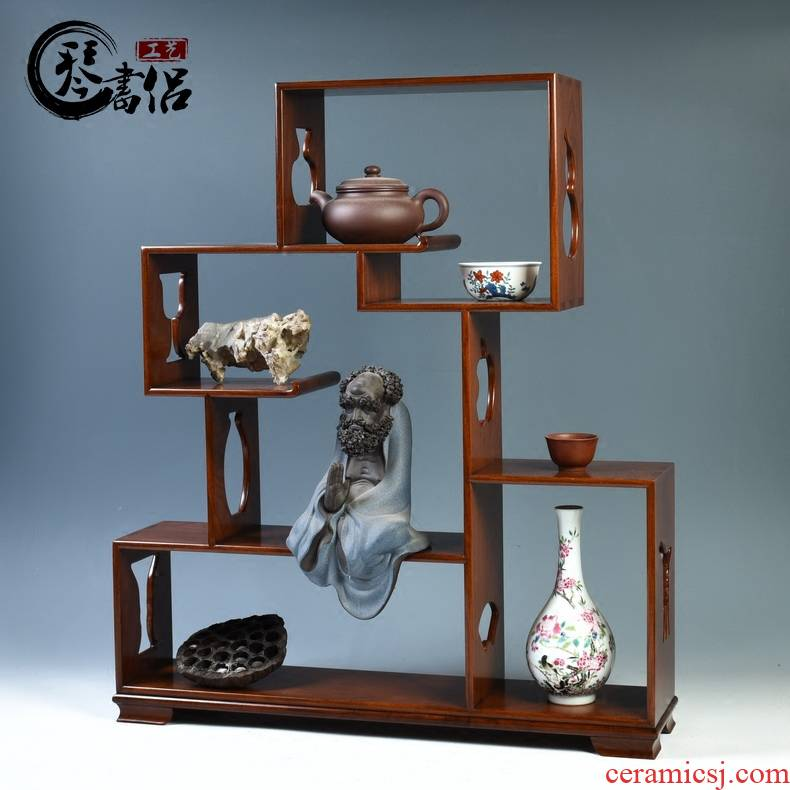 Pianology picking hua limu rich ancient frame base solid wood tea set small furnishing articles rich ancient frame stupa pavilion antique wooden pallet