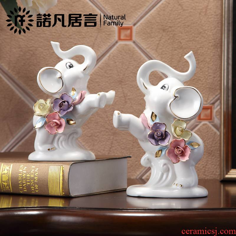 Jingdezhen ceramic furnishing articles study of sitting room decoration from European auspicious feng shui elephant decorations gifts