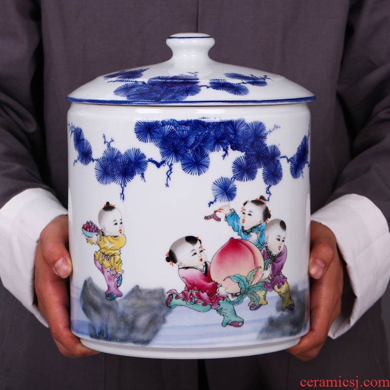 Jingdezhen ceramic blue and white porcelain tea sealing seal pot pot home puer tea cake porcelain tea pot