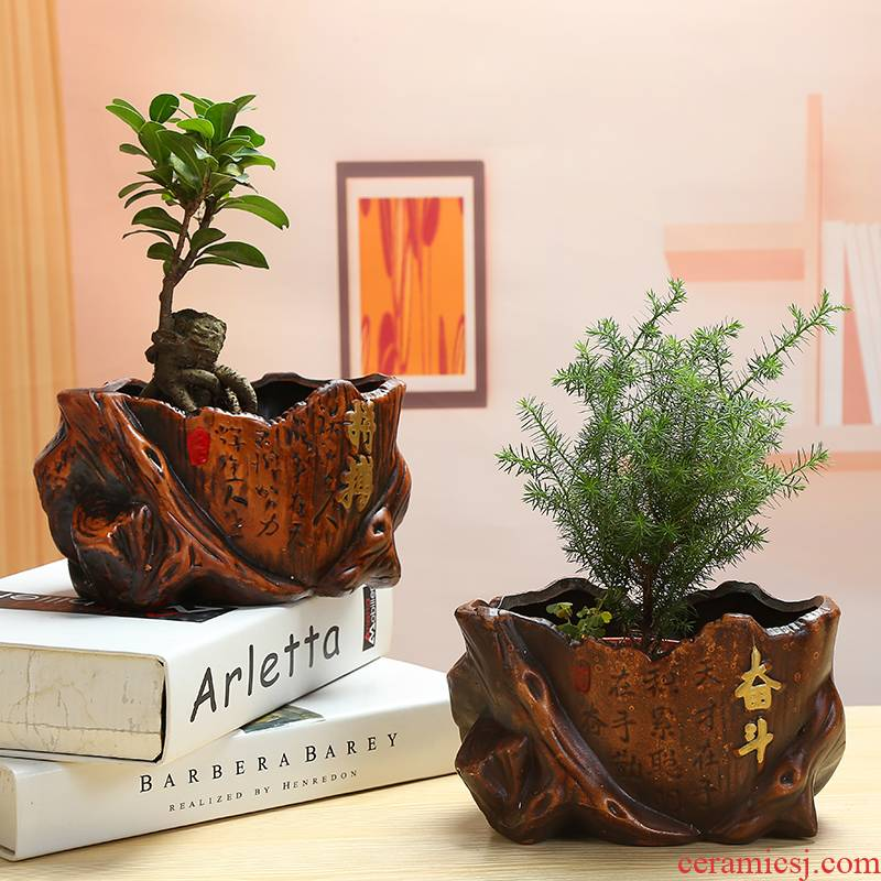 Europe type restoring ancient ways is auspicious ceramics flowerpots ganoderma lucidum rich banyan tree coconut trees, green potted classical ceramic flower pot