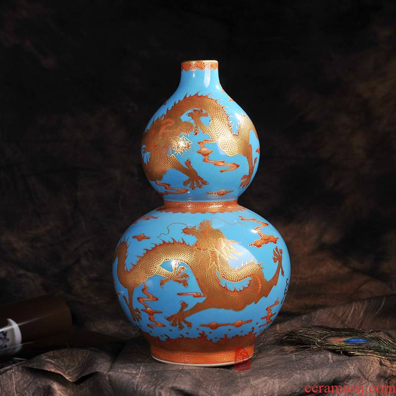 Jingdezhen ceramics archaize to the see colour blue dragon home sitting room place gourd vases, modern arts and crafts