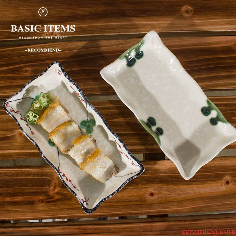 Optimal household tableware ceramics creative Japanese sushi plate printing plate of rectangular plate of dish all the plates
